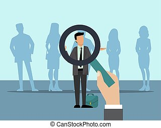 Employer choose candidates with magnifier. Group of people and choice of best employee. Business employees recruitment vector illustration.