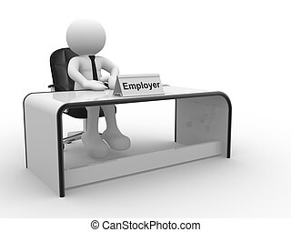Employer - 3d people - human character, person sitting at a...