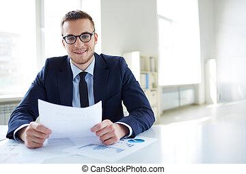 Employer in office
