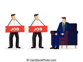 Employer looking and choosing people who need a job for his company. Concept of recruitment or corporate hiring.