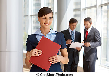 Employer - Portrait of confident female looking aside with...