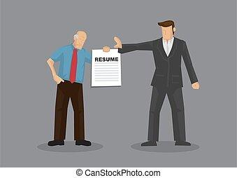 Employer Reject Old Age Job Seeker Cartoon Vector Illustration on Age Discrimination in Job Market