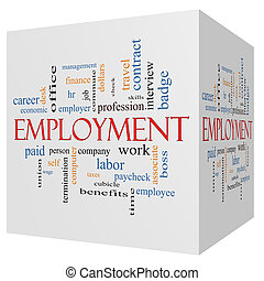 Employment 3D Cube Word Cloud Concept with great terms such as work, company, boss, job and more.