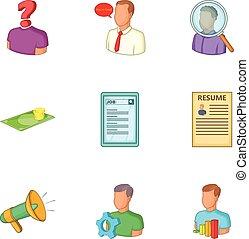 Employment agency icons set, cartoon style