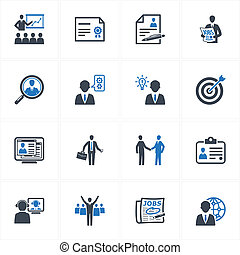 Set of 16 employment and business icons, great for presentations, web design, web apps, mobile applications or any type of design projects.