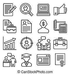 Employment and Job Resume Icons Set on White Background. Line Style Vector