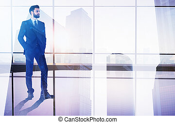 Employment and tomorrow concept - Businessman on abstract...