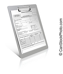 Employment application form on clipboard