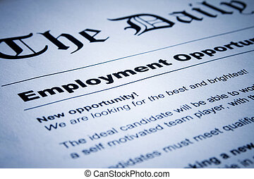 Closeup of employment classified ads on newspaper
