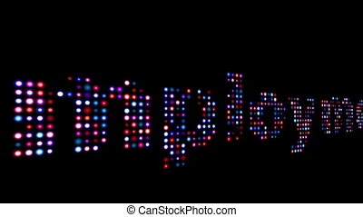 Employment colorful led text over black