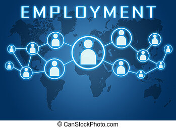 Employment concept on blue background with world map and social icons.