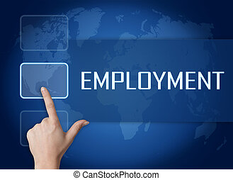 Employment concept with interface and world map on blue ...