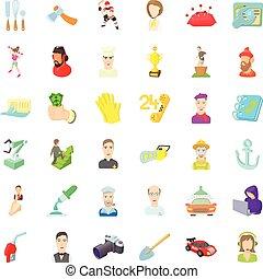 Employment icons set, cartoon style