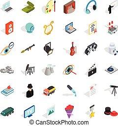 Employment icons set, isometric style