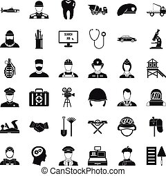 Employment icons set, simple style
