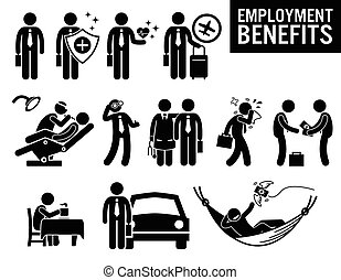 Illustrations showing employment benefits of a worker. These are insurance protection, medical healthcare, travel, dentist, eye or vision care, doctor, sick leave, allowance, refreshment, take home vehicle, and pension.
