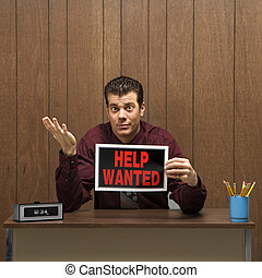 Employment opportunity. - Caucasion mid-adult retro...