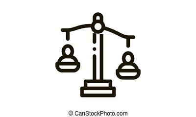 employment scales of justice Icon Animation. black employment scales of justice animated icon on white background
