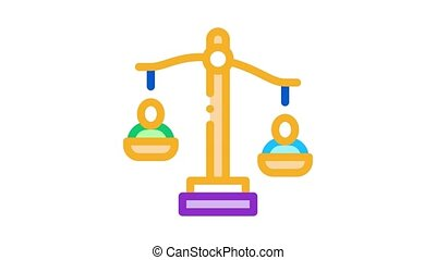 employment scales of justice Icon Animation. color employment scales of justice animated icon on white background
