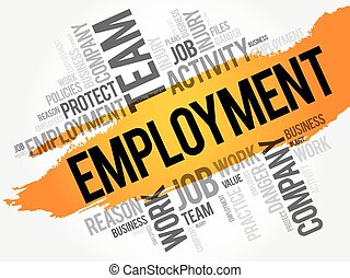 Employment word cloud collage