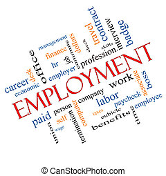 Employment Word Cloud Concept Angled with great terms such...