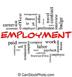 Employment Word Cloud Concept in red caps with great terms such as work, company, boss, job and more.