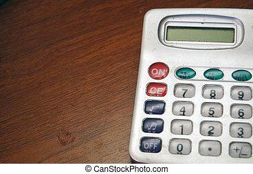 empoeirado, bolso, calculadora, antigas