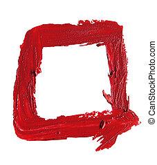 emporcalhado, quadrado, batom, forma, fundo, branco vermelho