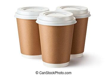 emporter, carton, tasse, trois, café, thermo