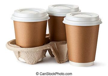 emporter, coffee., holder., trois, deux, tasses