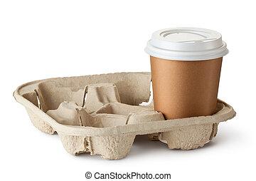 emporter, support, café, une