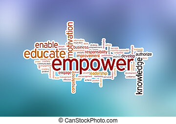 Empower concept word cloud background on blue blurred background