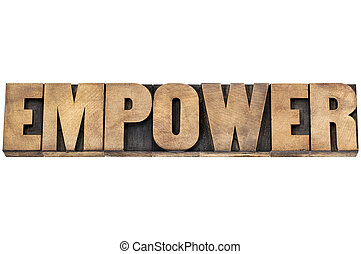 empower word in wood type - empower word - isolated text in...