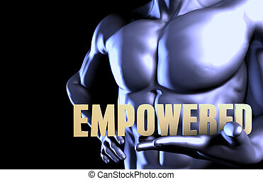 Empowered With a Business Man Holding Up as Concept