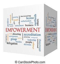 Empowerment 3D cube Word Cloud Concept