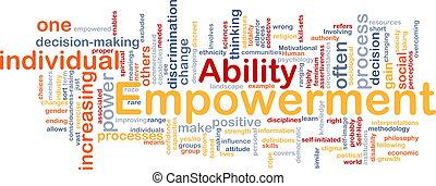 empowerment, begrepp, ben, bakgrund