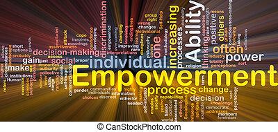 empowerment, begrepp, ben, glödande, bakgrund