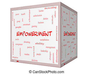 empowerment, cubo, palabra, whiteboard, concepto, nube, 3d