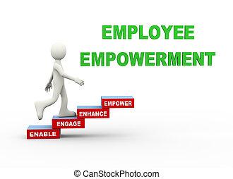 empowerment, palabra, pasos, empleado, 3d, hombre