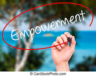 empowerment, screen., 執筆, ビジュアル, 黒, マーカー, 手, 人