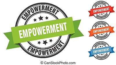 empowerment stamp. round band sign set. label