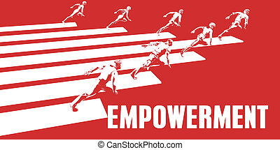 Empowerment with Business People Running in a Path