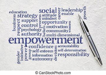 empowerment, woord, wolk, op, papier
