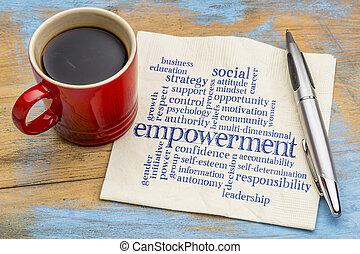 empowerment, woord, wolk, op, servet