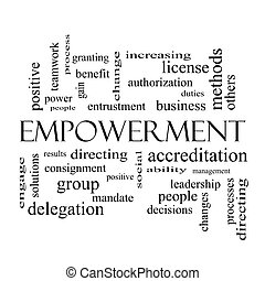 Empowerment Word Cloud Concept in black and white with great...