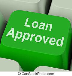 empréstimo, acordo, aprovado, crédito, tecla, emprestando, mostra