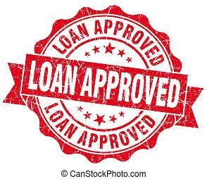 empréstimo, aprovado, grunge, vermelho, vindima, redondo,...