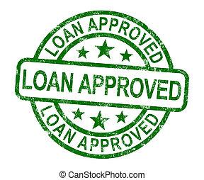 empréstimo, aprovado, selo, mostra, crédito, acordo, ok