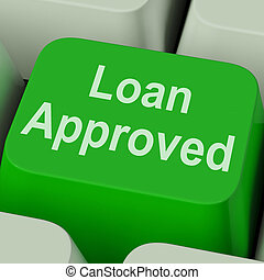empréstimo, aprovado, tecla, mostra, crédito, emprestando,...