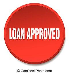 empréstimo, aprovado, vermelho, redondo, apartamento,...